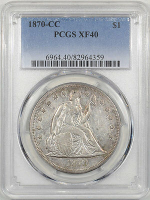 1870-Cc Liberty Seated Dollar Pcgs Xf-40. Another Coin From The Reeded Edge!