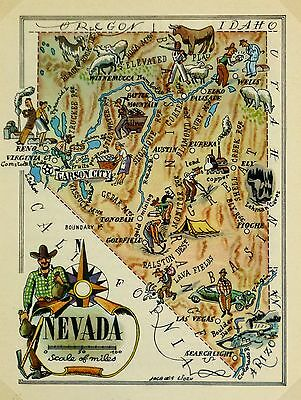 Nevada Antique Vintage Pictorial Map