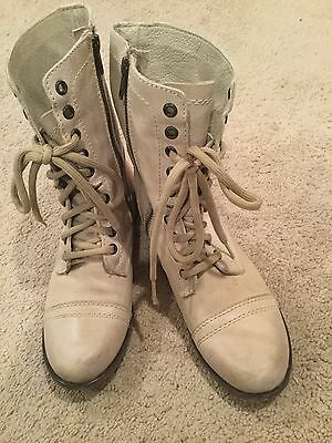 STEVE MADDEN Size 7.5 M Womens Troopa Tan Lace and Zip Boots