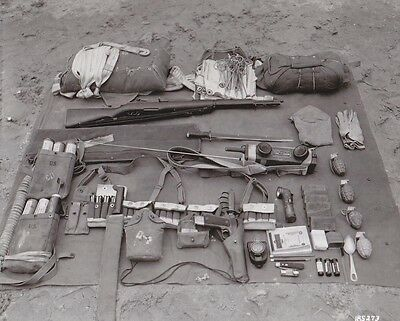WWII Photo US Army Paratrooper Equipment Inspection  World War 2 WW2 / 1187