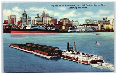 Mid-1900s Federal Barge Line and Skyline of New Orleans, Louisiana Postcard