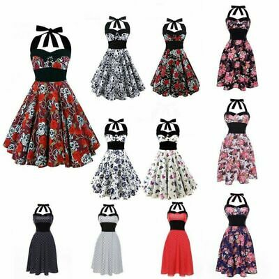 Gothic Skull Rose Print Hepburn 50s 60s Rockabilly Dress Pinup Party Punk Dress