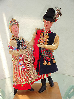 Beautiful Antique Swiss Dolls Couple with Lace, Tassels, Silk Favors and Beads