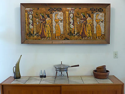 Cypress Framed Barkcloth Panel Quilted Textile Art Scene Mid Century Modern