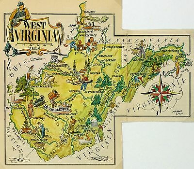 West Virginia Antique Vintage Pictorial Map