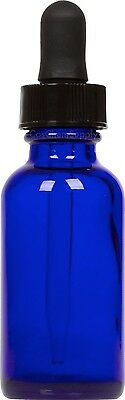 25 Pack Cobalt Blue Glass Boston Round Bottle w/ Black Glass Dropper 1 oz