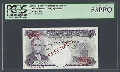 Tunisia 1/2 Dinar ND(ca.1958) P57s Specimen TDLR N3 About Uncirculated