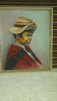 MId century / Retro framed oil painting - Portrait of Mexican Boy - R.HEAD