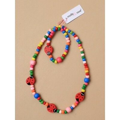 Child's Wooden Beaded Colourful Ladybird Necklace And Bracelet Set