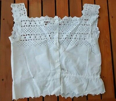 Antique Edwardian Cotton White Eyelet Camisole Underwear Undergarment Top