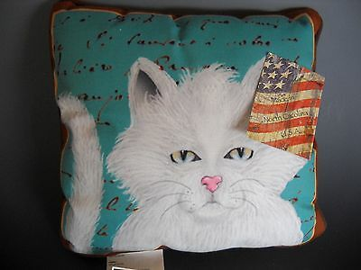 """Purrfect Poses White Cat Pillow Made in USA 12"""" Square NWT"""