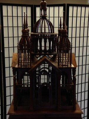 Highly Detailed Carved Mahogany Bird Cage