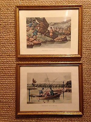H Alken Antique Style Pair of Gilt Framed Fishing Prints - Charming!