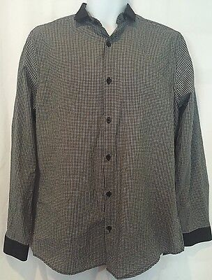 Men's Black Checkered H&M Long Sleeve Button up Blouse Size M