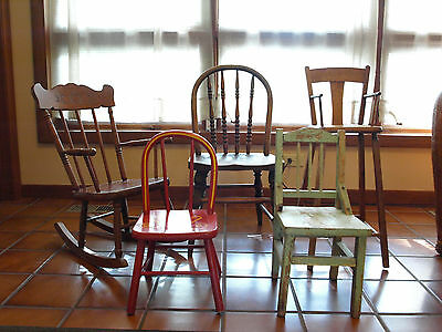 Lot of Five Vintage Wooden Children and Doll Chairs