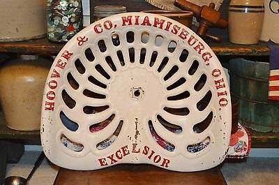 """ANTIQUE Cast Iron HOOVER & CO MIAMISBURG OHIO """"EXCELSIOR"""" Tractor Implement Seat"""