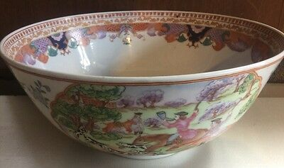 Antique Chinese Export Hand Painted Porcelain Punch Bowl Fox Hunter Scene