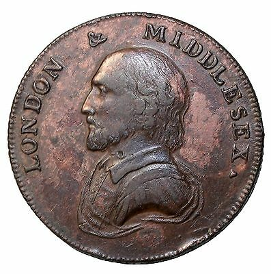 1792 Middlesex London William Shakespeare Halfpenny Conder Token D&H-928