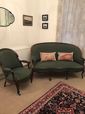 Georgian 3 Seater Sofa and Chair