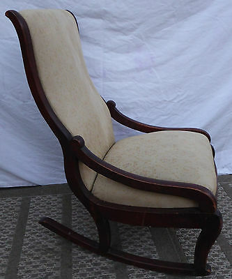 Antique Hand Carved Mahogany wood Child's rocking Chair