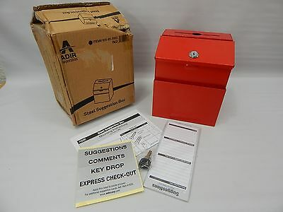 Adir RED Steel Suggestion Box with Lock- Donation, Collection and/or Charity Box
