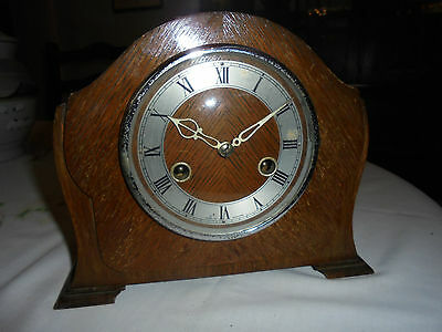 Antique/vintage wooden mantel clock with key