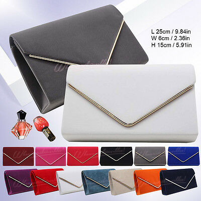 Evening Women Suede Bridal Envelope Clutch Club Party Prom Handbag Shoulder Bag