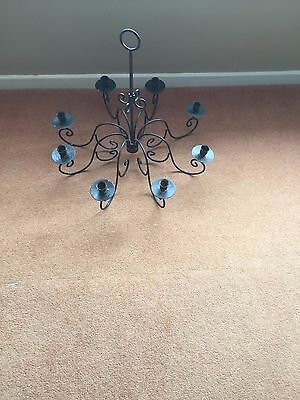 Vintage Wrought Iron 8 Candle Chandelier