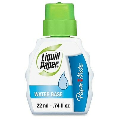 Paper Mate Liquid Paper Low Odor Water-Based Correction Fluid, White