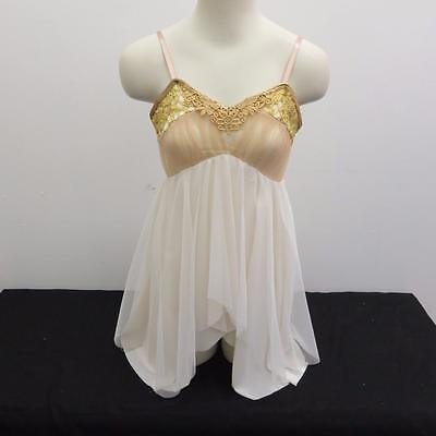 Dance Costume Medium Adult Gold Ivory Cami Dress Lyrical Ballet Solo Competition
