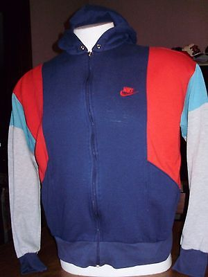VINTAGE 1980's NIKE BLUE TAG ZIP UP HOODIE nice colorway medium
