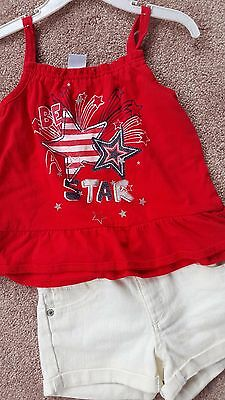 GIRLS 4TH OF JULY OUTFIT 3T cute tank top and new white shorts- NWT
