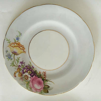 EB Foley E Brain and Co c 1950  Vintage Plate Cottage flowers pale blue rim