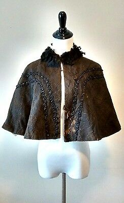 Antique Victorian Black Beaded Mourning Cape 19th Century