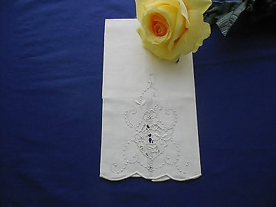 White Vintage Limbro Linen Guest Towel Portugal New With Tags