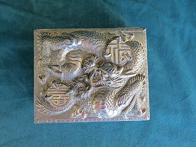 Antique Chinese Ornate Metal Box with Hinged Lid - Ferocious Dragon
