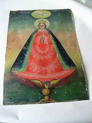 Original1800's Retablo On Tin Rare Image Of Virgin Mary With Minimal Paint Loss