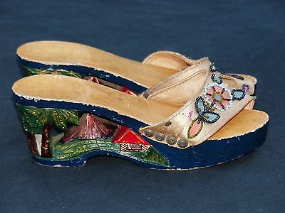 Asian Oriental Hand Carved Platform Heels Clogs Wood Shoes Mount Fuji Carving