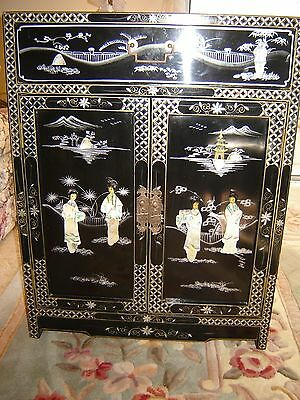 Antique Oriental Black Lacquer Cabinet With Mother Of Pearl  Inlay