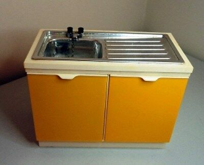 VINTAGE SINDY teen Doll House furniture yellow EASTHAM KITCHEN SINK  unit 1:6