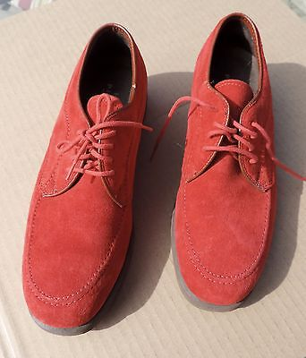 Vtg 50's Red Suede Shoes Hushpuppies Cool Rockabilly EXC USA Unisex M 6 1/2 W 8