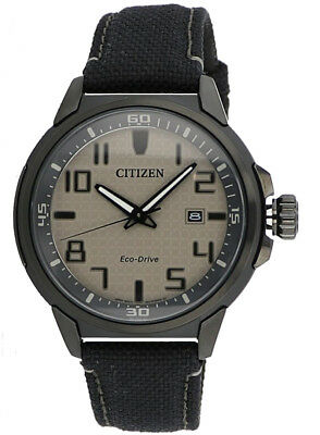 Citizen Eco-Drive Men's AW1465-06H AR Brown Dial Black Nylon Strap 43mm Watch