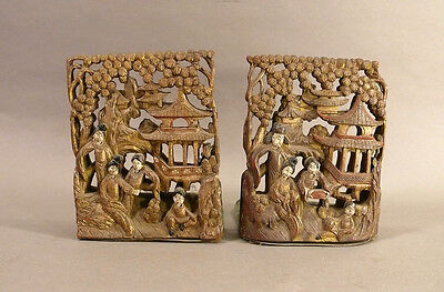 """Antique Chinese Carved Wood Bookends """"Thousand Figures"""" Old Traces Gilt Finish"""