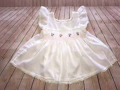 Girl's Vintage Peaches N Cream White Pinafore Dress Size 18 Months