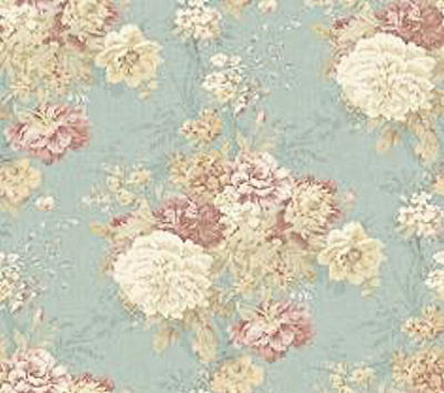 Dollhouse Miniature Wallpaper Shabby Chic Blue Floral 1:12 One Inch Scale