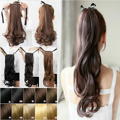 Womens Extension Hair Ponytail String Wrap-on Clip in Long Straight Hair Pieces