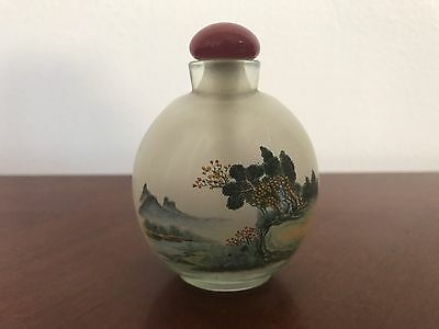 Antique Chinese Peking Glass Hand-painted Floral Snuff Bottle