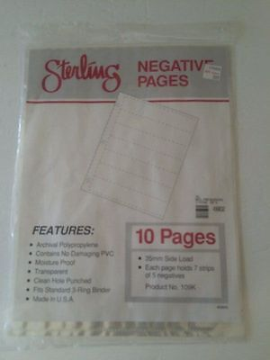 10 pages 35mm side load Sterling Negative holder sheets Archival