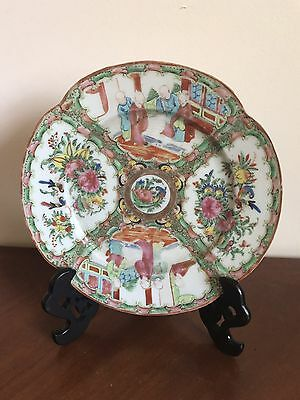 Antique Chinese Qing Dynasty Porcelain Famille Rose Figural Floral Plate