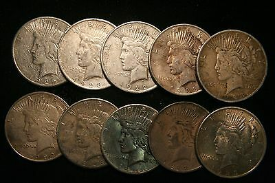 10 (Ten) Peace Silver Dollars US Coin lot, Circulated